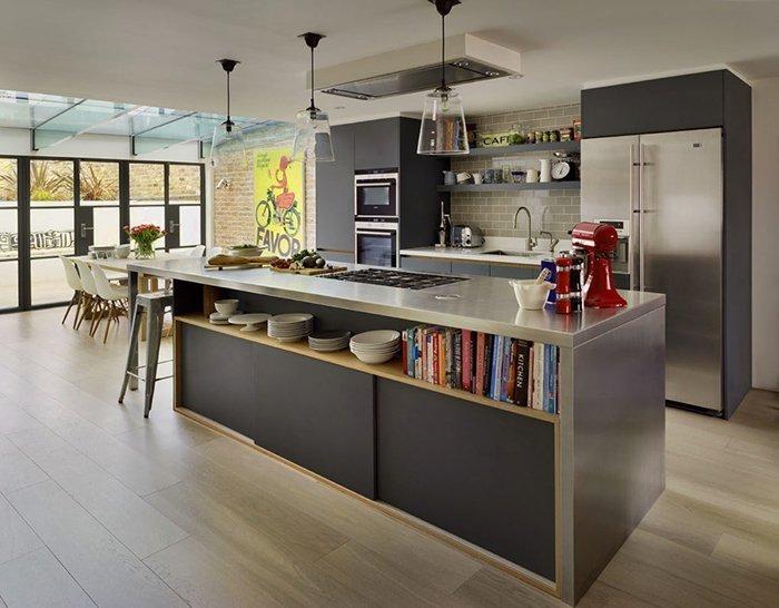 Mẫu không gian bếp đẹp hiện đại với lối thiết kế không gian rộng