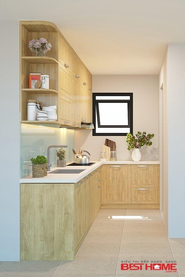 Tủ bếp gỗ sồi Mỹ – Hoàn thiện dự án không gian bếp nhà chú Vinh – Định Công thumbnail