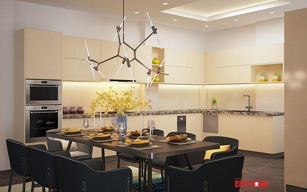 Không gian bếp hiện đại chất liệu Acrylic tại biệt thự nhà Mrs. Sự Hà Đông