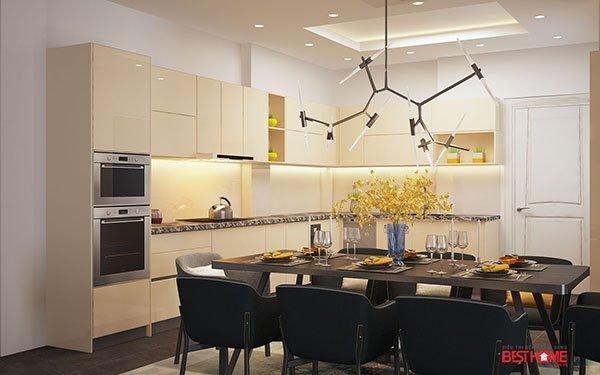 Không gian bếp hiện đại chất liệu Acrylic tại biệt thự nhà Mrs. Sự Hà Đông thumbnail