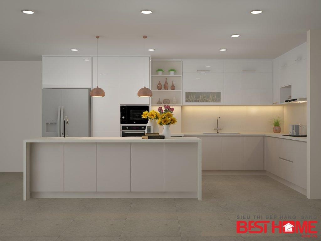 Tủ bếp gỗ Acrylic – Tri ân khách hàng và bảo trì công trình tủ bếp nhà chị Nguyệt Anh – Tràng An thumbnail