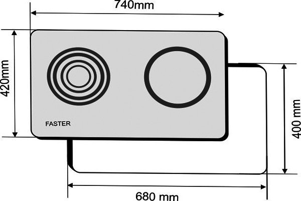Kích thước bếp điện kết hợp từ Faster FS 2CE