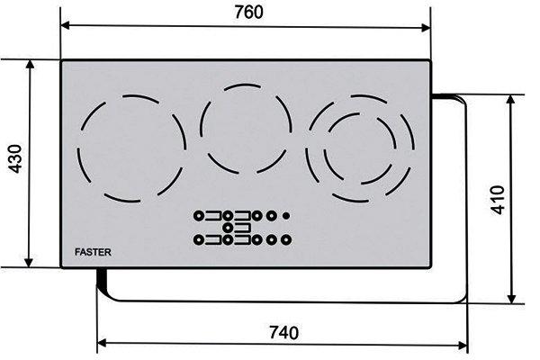 Kích thước của bếp điện kết hợp từ Faster FS-3CE
