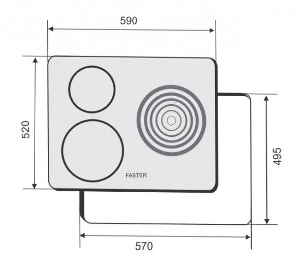 Kích thước bếp điện kết hợp từ Faster FS-3SE