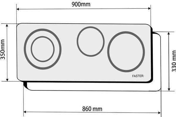 Kích thước bếp điện kết hợp từ Faster FS-930CI