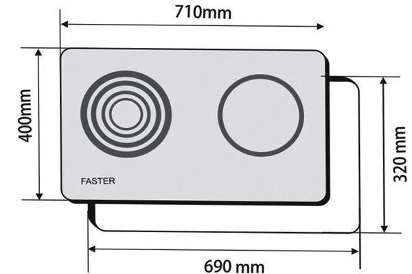 Kích thước bếp từ Faster FS-740TE