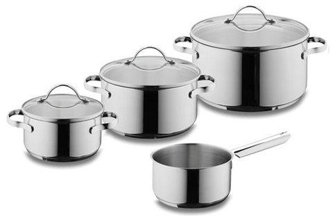 Bộ nồi với chất liệu inox đáy bằng rất thích hợp dùng cho bếp điện từ bếp dương