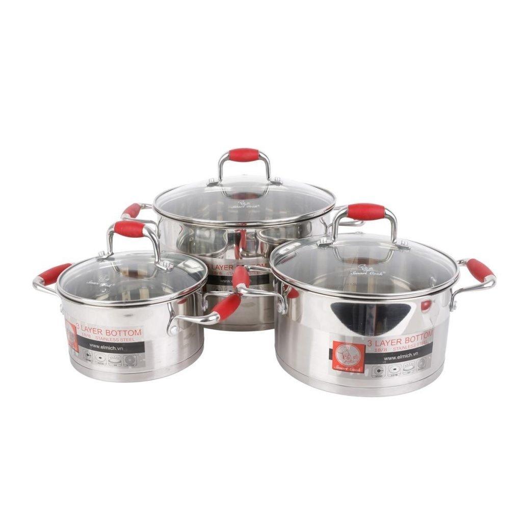 Bộ nồi nấu bếp điện từ Elmich inox 3 đáy Smartcook