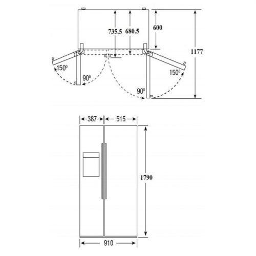 Kích thước tủ lạnh Side By Side Hafele 534.14.200