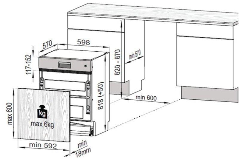 Kích thước máy rửa chén Hafele HDW-HI60A
