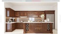 Phong cách thiết kế tủ bếp chữ L có bàn đảo – Gỗ óc chó thumbnail