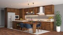 Phong cách thiết kế tủ bếp chữ L có bàn đảo và bàn ăn – Gỗ óc chó thumbnail