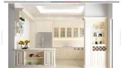 Phong cách thiết kế tủ bếp chữ L có bàn đảo và quầy bar – Gỗ sồi sơn trắng thumbnail