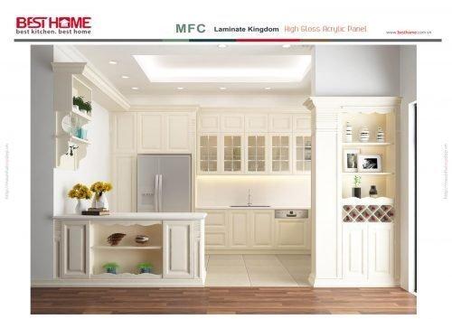 Phong cách thiết kế tủ bếp chữ L có bàn đảo và quầy bar – Gỗ sồi sơn trắng post image