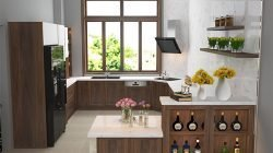 Phong cách thiết kế tủ bếp chữ U – Chất liệu gỗ óc chó thumbnail