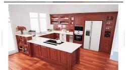 Phong cách thiết kế tủ bếp chữ U có bàn đảo – Gỗ gõ đỏ thumbnail