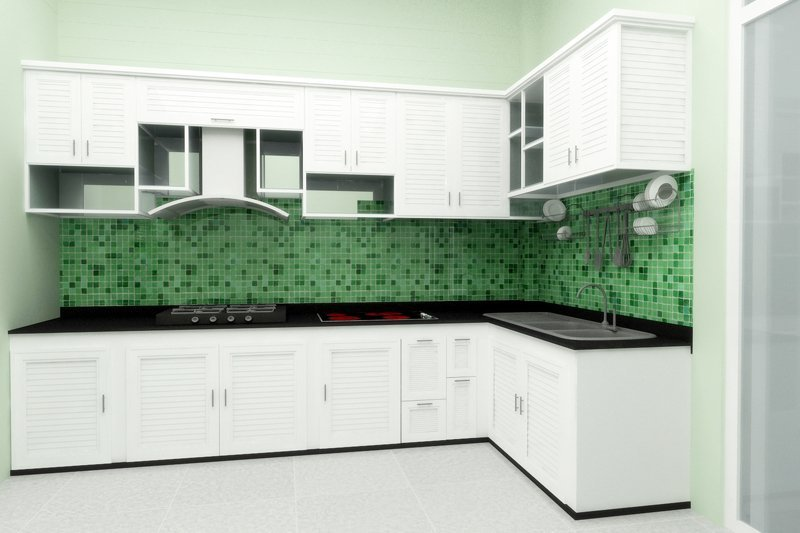 Tủ bếp nhôm kính (bản thiết kế)