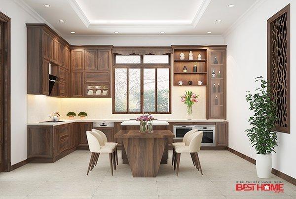 Tủ bếp gỗ óc chó – Hoàn thiện dự án không gian bếp nhà chị Hoa – Vĩnh Phúc thumbnail