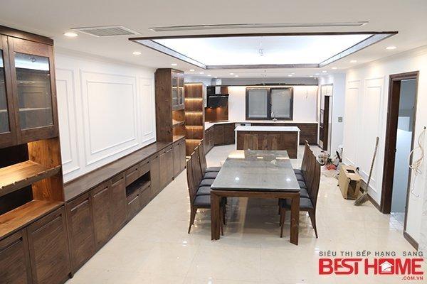 Tủ bếp gỗ óc chó – Hoàn thiện thiết bị công trình tủ bếp nhà chị Ngà – Bùi Thị Xuân thumbnail
