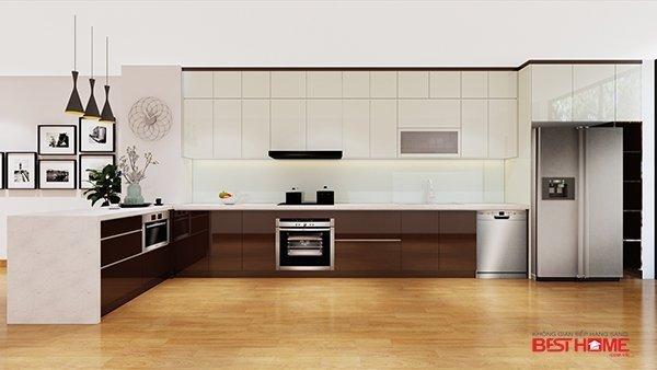 Tủ bếp gỗ Acrylic – Hoàn thiện dự án không gian bếp nhà anh Hải – Biệt thự liền kề Moon Bay Hạ Long thumbnail