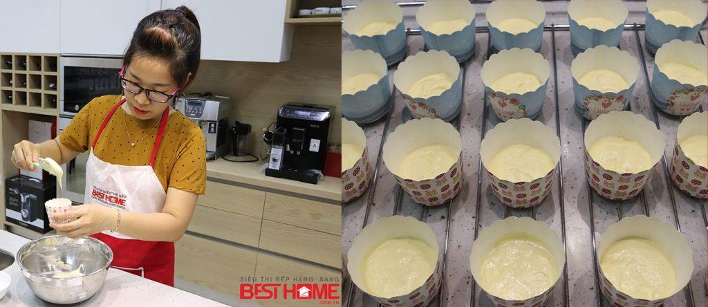 Khi chia bột phải đúng tỉ lệ thì khi nướng bánh sẽ đều hơn