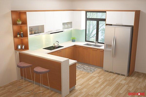 Phong cách thiết kế tủ bếp chữ U – Gỗ Acrylic và Laminate