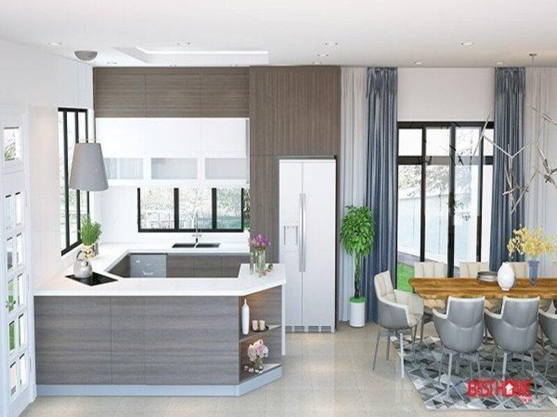 Phong cách tủ bếp hiện đại với chất liệu Laminate biệt thự nhà Ecopark