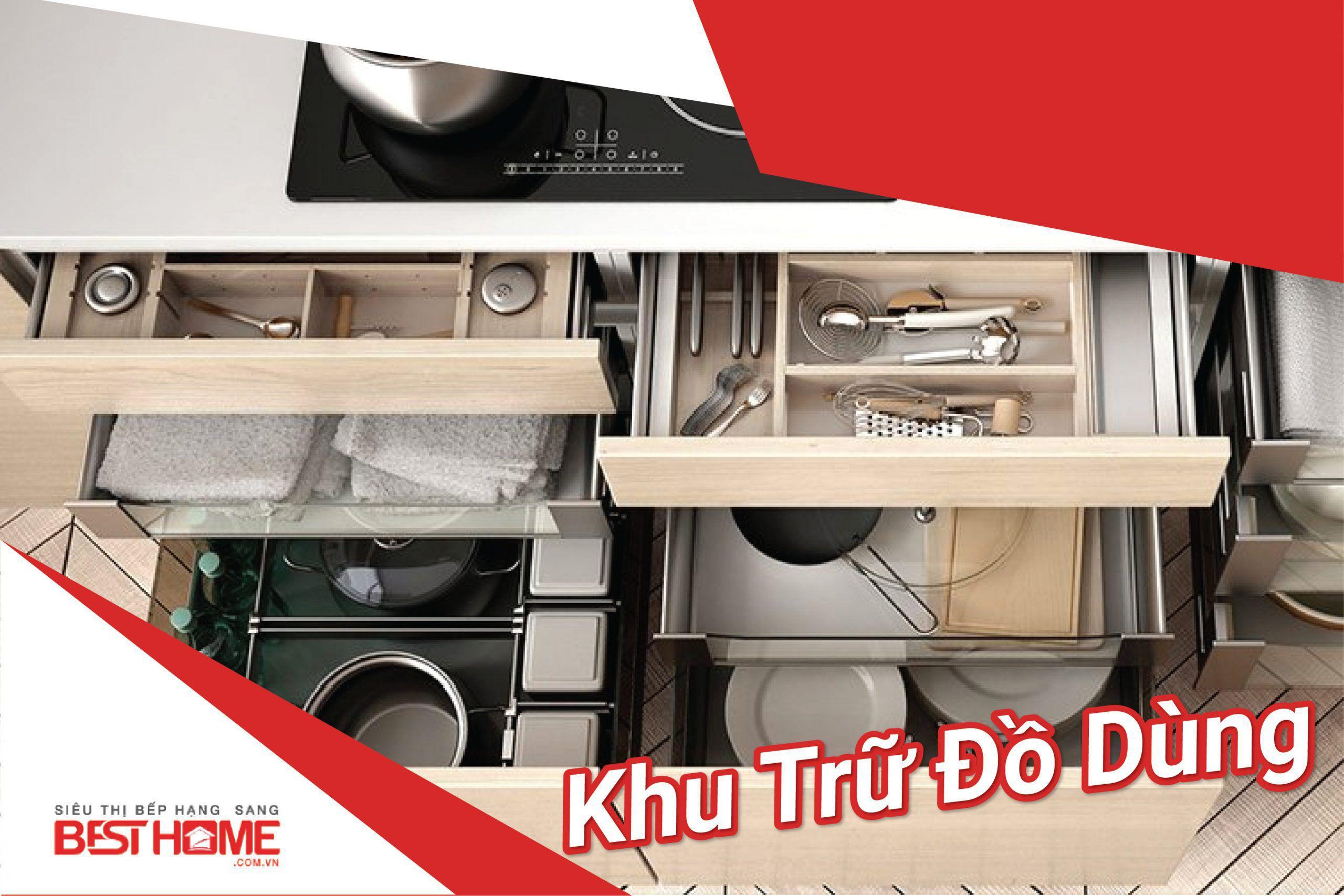 Thiết kế tủ bếp năng động hiện đại không thể thiếu KHU TRỮ ĐỒ DÙNG