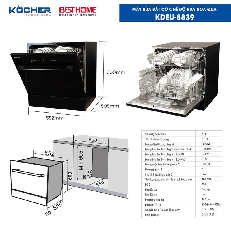 Máy rửa bát đa chức năng KOCHER KDEU-8839 thế hệ mới