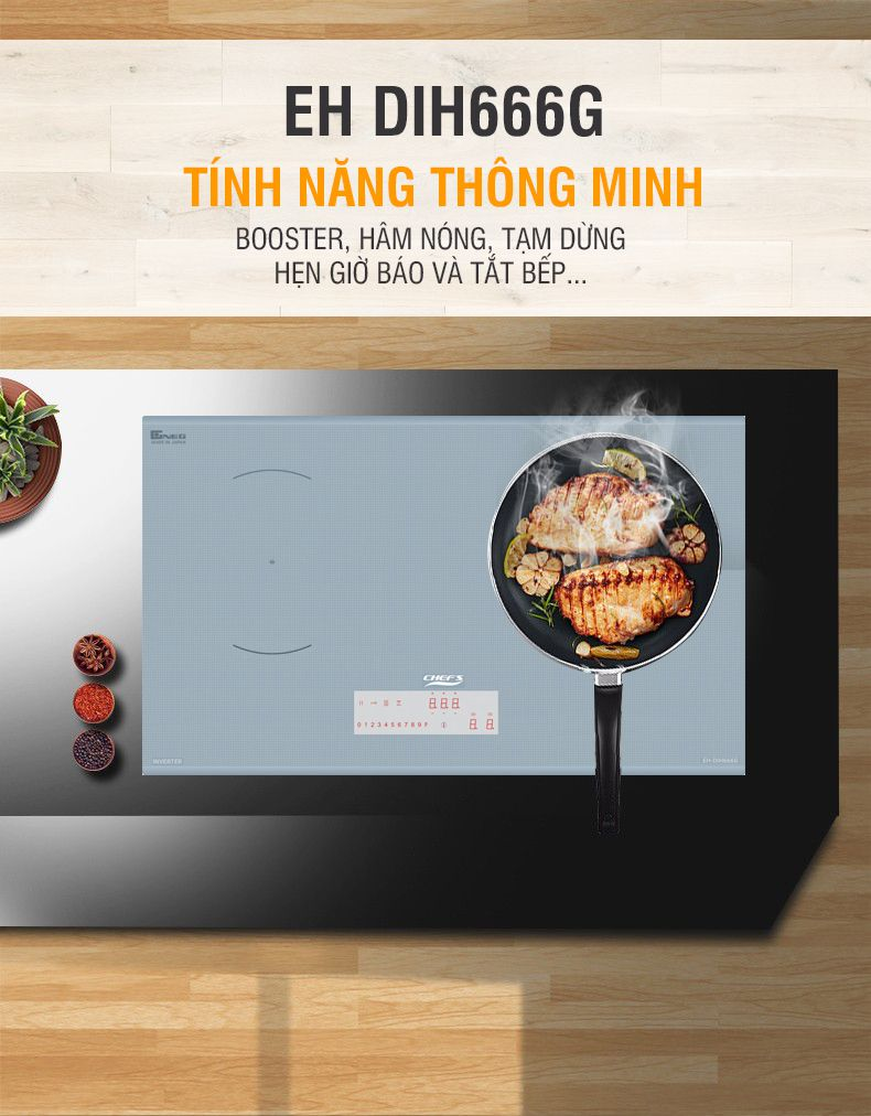 Bếp từ đôi Chefs EH-DIH666G xuất xứ Việt Nam